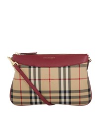 Burberry Shoes And Accessories Peyton Horseferry Check Clutch Bag Female Red