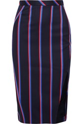 Altuzarra Striped Wool And Cotton Blend Skirt Navy