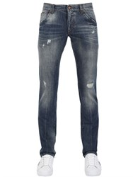 Dolce And Gabbana 18Cm Gold Fit Distressed Denim Jeans
