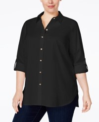 Charter Club Plus Size Roll Tab Button Down Shirt Only At Macy's Deep Black