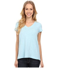 Mod O Doc Sueded Slub Jersey Short Sleeve V Neck Tee Blue Frost Women's T Shirt