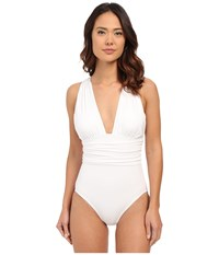 Michael Kors Drapey Jersey High Neck Peep Cross Front Maillot White Women's Swimsuits One Piece