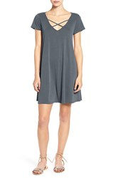 Socialite Women's Cross Front T Shirt Dress Charcoal