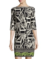 Donna Morgan Geometric Print 3 4 Sleeve Shift Dress Black Citron