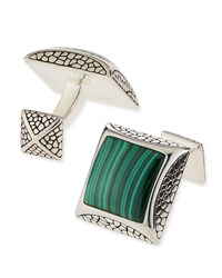 Pebbled Silver Cuff Links With Malachite Stephen Webster