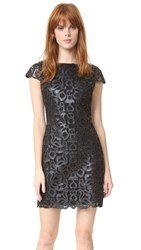 Alice Olivia Penni Faux Leather Cap Sleeve Dress Black