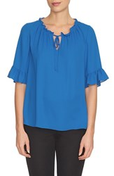 Women's Cece By Cynthia Steffe Ruffle Trim Tie Neck Blouse Blue Lotus