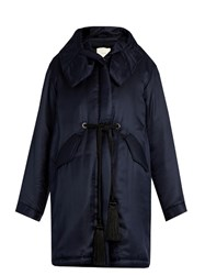 Adam By Adam Lippes Tassel Drawstring Hooded Silk Twill Coat Navy
