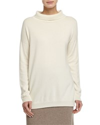 Eileen Fisher Long Cashmere Turtleneck Top Soft White