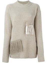 Stella Mccartney Distressed Round Neck Jumper Nude And Neutrals