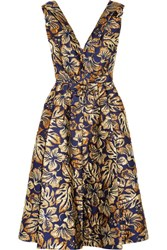Prada Floral Jacquard Midi Dress Navy