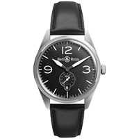 Bell And Ross Brv123 Bl St Sca Men's Vintage Original Automatic Leather Strap Watch Black