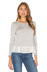 Rebecca Taylor Eyelet Terry Top Gray