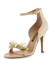 Kay Unger Marlee Metallic Bow Leather Sandal Nude Gold