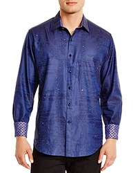 Robert Graham Limited Edition Crystal Embroidered Classic Fit Button Down Shirt Navy