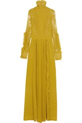 Just Cavalli Plisse Chiffon And Cotton Blend Lace Gown Mustard