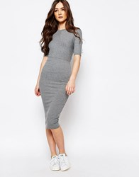 Pull And Bear Ribbed Bodycon Dress Gray