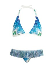 Missoni Mare Fringed Halterneck Triangle Bikini Blue Multi