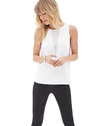 Forever 21 Geo Colorblocked Sleeveless Top Ivory Taupe