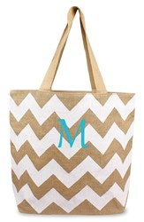 Cathy's Concepts Personalized Chevron Print Jute Tote White White Natural M