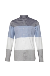 French Connection Girodat Stripe Slim Fit Long Sleeve Shirt Blue
