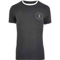 River Island Mens Grey Muscle Fit Ringer T Shirt