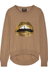 Markus Lupfer Lara Lip Joey Sequin Embellished Merino Wool Sweater Mushroom