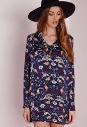Missguided V Neck Long Sleeve Paisley Print Shift Dress Navy Blue