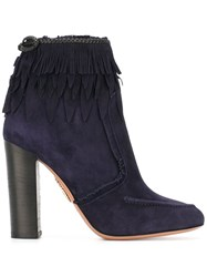 Aquazzura 'Tiger Lily' Fringed Ankle Boots Blue