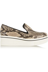 Stella Mccartney Snake Print Canvas Slip On Sneakers