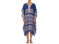 Two Women's Embroidered Gauze Caftan Blue