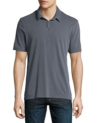 James Perse Short Sleeve Jersey Polo Shirt Dark Gray