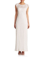 Sue Wong Embroidered Cap Sleeve Gown White