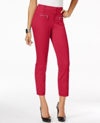 Inc International Concepts Petite Straight Leg Cropped Zipper Pocket Pants Only At Macy's Fireberry