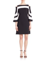La Petite Robe Di Chiara Boni Cold Shoulder Bell Sleeve Dress Black White