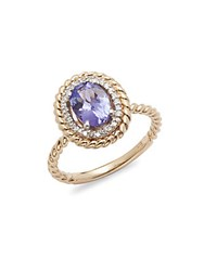 Effy Diamond And 14K Yellow Gold Cable Ring Purple