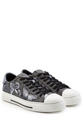 Valentino Butterfly Embroidered Sneakers With Leather Grey
