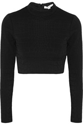 Jonathan Simkhai Cropped Embossed Stretch Jersey Top Black