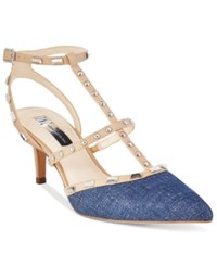 Inc International Concepts Carma T Strap Kitten Heel Pumps Only At Macy's Women's Shoes Denim