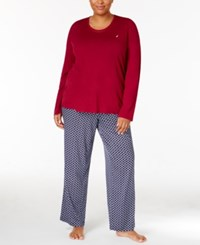 Nautica Plus Size Scoop Neck Knit Top And Printed Pajama Pants Gift Set Ruby Checkered