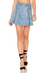 Free People Denim Lace Up Skirt Blue