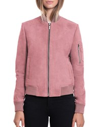 Bagatelle The Bomber Lamb Nubuck Bomber Jacket Lip Laquer