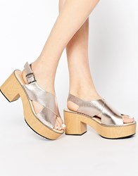 Park Lane Cross Strap Platform Sandals Rose Gold Silver