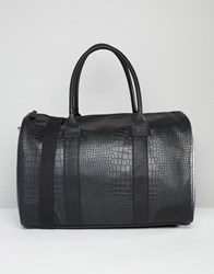Asos Smart Holdall In Black Faux Leather With Crocodile Effect Black