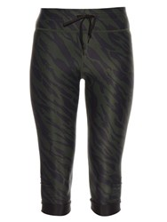 The Upside Deep River Print Cropped Performance Leggings Green
