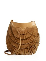 Agnona Polette Fringed Suede And Leather Crossbody Bag Cognac Black