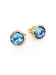 Marco Bicego Jaipur Blue Topaz And 18K Yellow Gold Stud Earrings Gold Blue Topaz