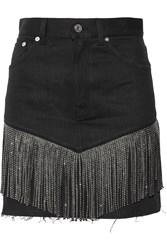 Saint Laurent Studded Leather Fringed Denim Mini Skirt