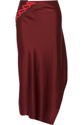 Dkny Lace Up Satin Midi Skirt Merlot