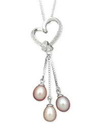 Macy's Pearl Heart Pendant Sterling Silver Multicolor Cultured Freshwater Pearl And Diamond Accent